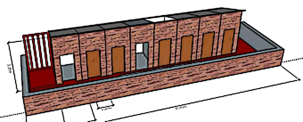 Artist impression van toiletgebouw met 8 toiletten