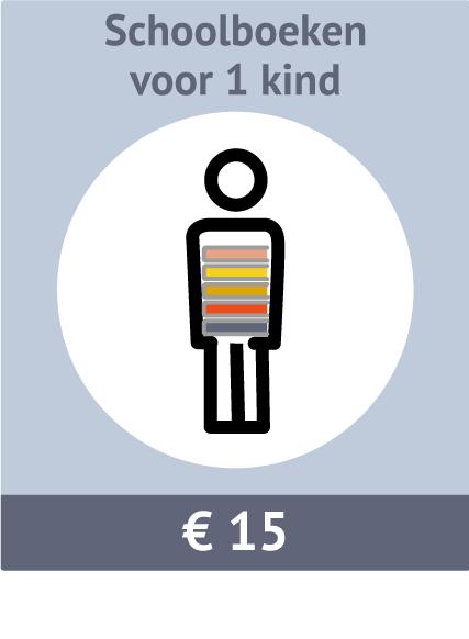 Sponsormogelijkheid voor schoolboeken voor 1 kind. Kosten: €15