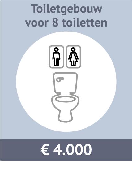 Sponsormogelijkheid voor een toiletgebouw met 8 toiletten. Kosten: €4.000
