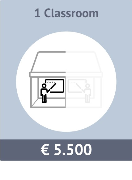 Sponsor option for 1 classroom. Total costs € 5000.
